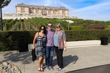 posing by Domaine Carneros
