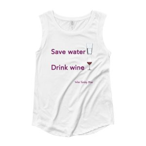 Save Water, Drink Wine Ladies' Cap Sleeve T-Shirt