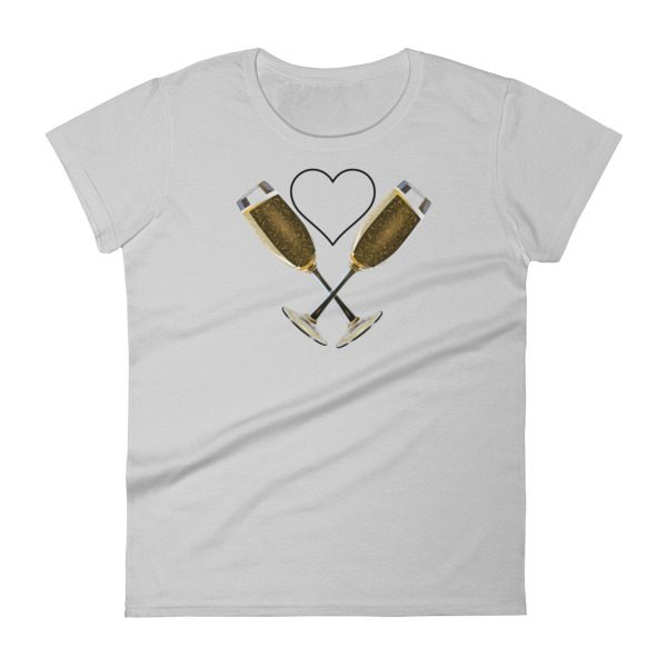 """A Heart for Champagne"" Women's short sleeve t-shirt"