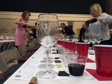 Riedel glasses being filled