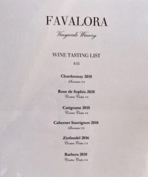 Favalora Wine Menu